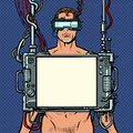 Medical research. Cyberpunk naked man virtual reality concept Royalty Free Stock Photo