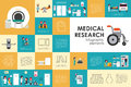 Medical research flat web infographic. Syringe Doctor Nurse Ambulance Hospital vector icons. Medicine options design