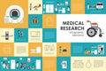 Medical research flat web infographic. Syringe Doctor Nurse Ambulance Hospital vector icons. Medicine options design