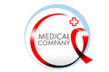 Medical ribbon logo anti cancer representing a red Stock Image