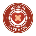 Medical save a life heart plaster design badge