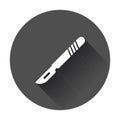 Medical scalpel vector icon. Hospital surgery knife sign illustr