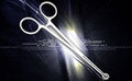 Medical scissor tool in digital background Stock Image