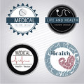 Medical seals over gray background vector illustration Stock Images