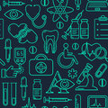 Medical seamless background with line style icons on black. Medicine and health design pattern with modern linear symbols.