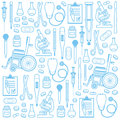 Medical seamless pattern hand drawn illustration of equipments Royalty Free Stock Photography