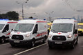 Medical service cars First Moscow Parade of City Transport Royalty Free Stock Photo