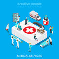 Medical services doctor nurse first aid flat 3d isometric vector