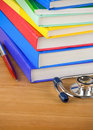 Medical stethoscope with book Royalty Free Stock Images