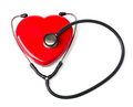 Medical stethoscope and heart isolated on white with clipping path Stock Photography