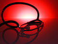 Medical stethoscope red abstract background with Stock Images