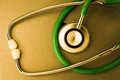 Medical stethoscope technology green object Royalty Free Stock Photography