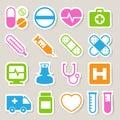 Medical sticker icons set, . Illustration Royalty Free Stock Photo