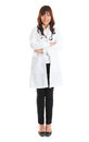 Medical student nursing standing isolated full body young asian nurse or standing isolated in full length wearing lab coat Stock Image