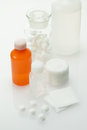 Medical supplies bandage and cotton wool and antiseptic solution Stock Images