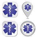 Medical symbol of the emergency icon sticker button map point marker vector eps Royalty Free Stock Photo