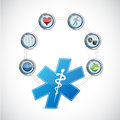 Medical symbol health care diagram illustration design over a white background Stock Photo