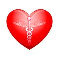 Medical symbol on Heart Stock Image