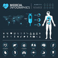 Medical system connections icon set on dark backgroundMedical human organs icon set with human body and world map info graphic Royalty Free Stock Photo