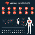Medical system connections icon set on dark backgroundMedical human organs icon set with human body and world map info graphic