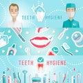 Medical teeth hygiene infographic web banner