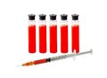 Medical test tubes and syringe with blood