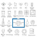 Medical tests and researches line icons