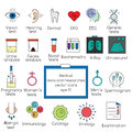 Medical tests and researches icons. Vector illustration