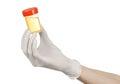 Salud tema mano en blanco guantes de orina en blanco