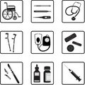 Medical tools and icons Stock Images