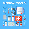 Medical Tools Icons Set. Health Care Stuff Royalty Free Stock Photo