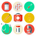 Medical Tools Icons Set. Medical Background with Health Care Stuff Royalty Free Stock Photo