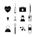 Medical tools icons on white background Stock Photo