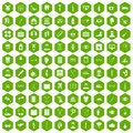 100 medical treatmet icons hexagon green Royalty Free Stock Photo