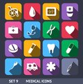 Medical vector icons with long shadow set this is file of eps format Royalty Free Stock Images
