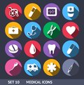Medical vector icons with long shadow set this is file of eps format Stock Image