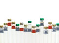 Medical vial row of isolated on white background Stock Photos