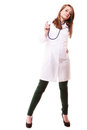 Medical. Woman doctor in lab coat with stethoscope
