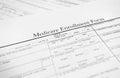 Medicare form closeup of a enrollment healthcare concept Stock Photography