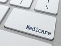 Medicare medical concept button on modern computer keyboard d render Royalty Free Stock Image