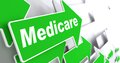 Medicare medical concept green arrow with slogan on a grey background d render Stock Images