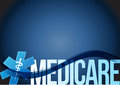Medicare sign concept illustration design over blue Stock Image