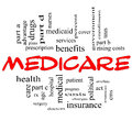 Medicare Word Cloud Concept in Red Caps Stock Photography