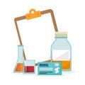 Medication supplies laboratory clipboard Royalty Free Stock Photo