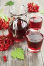 Medicinal drink fresh viburnum Royalty Free Stock Photo