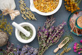 Medicinal herbs, mortar of herbs, sachet and bottle of drug. Royalty Free Stock Photo