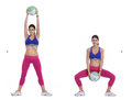Medicine ball squat with overhead lift step by step instructions stand your feet wide holding a light in front of you in both Stock Images