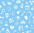 Medicine, blue background, flat, seamless, vector.