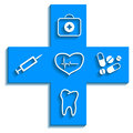 Medicine blue icon logo on a white background vector illustration Royalty Free Stock Image