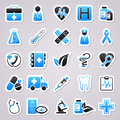 Medicine blue stickers icons for web design Stock Photo